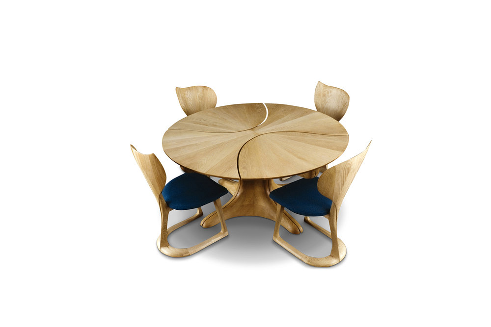 """Lily Pad II"" Table (with ""Lotus"" chairs), designed 1982  Bleached white oak.  Table: 29 in. high x 60 in. diameter"