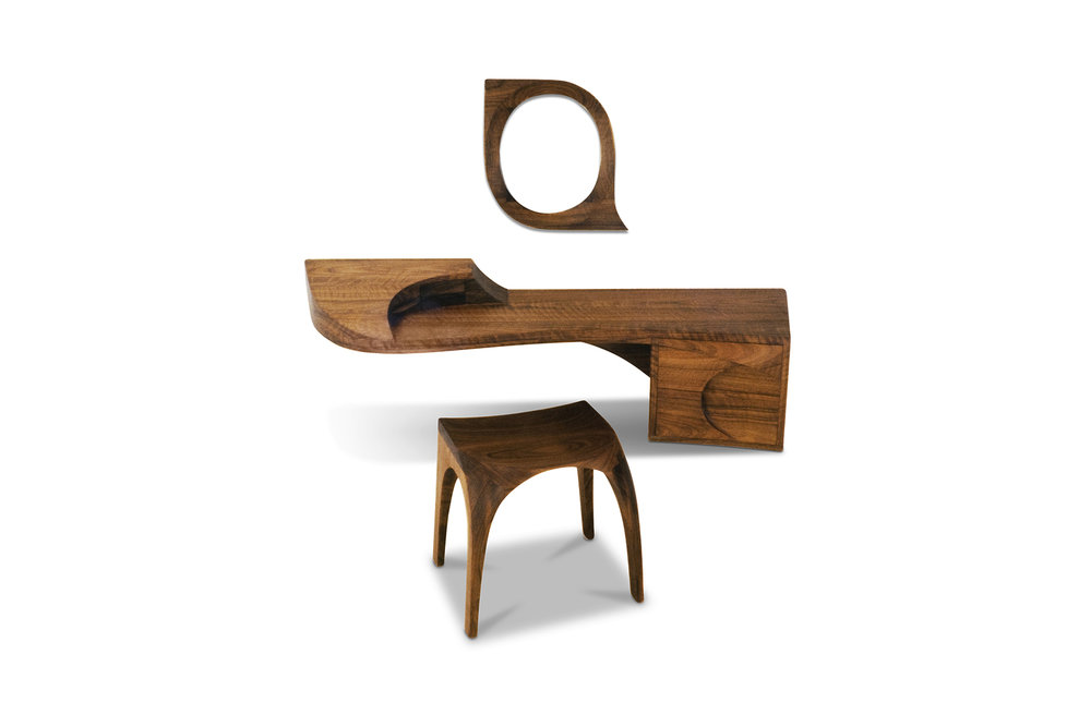 """Ménage a Trois"" Dressing Table, designed 1992 African Mozambique, mirrored glass. Table: 14 x 60 x 18 in."