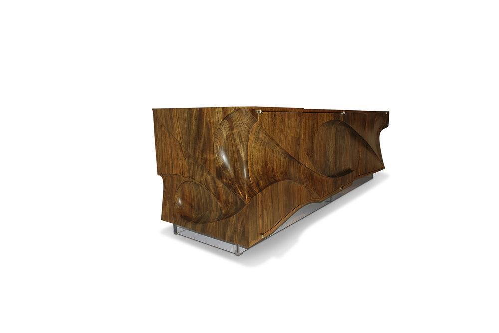 """Tsunami"" Cabinet, designed 2008  African Mozambique, white oak, Plexiglas.  28 x 90 x 24 in."