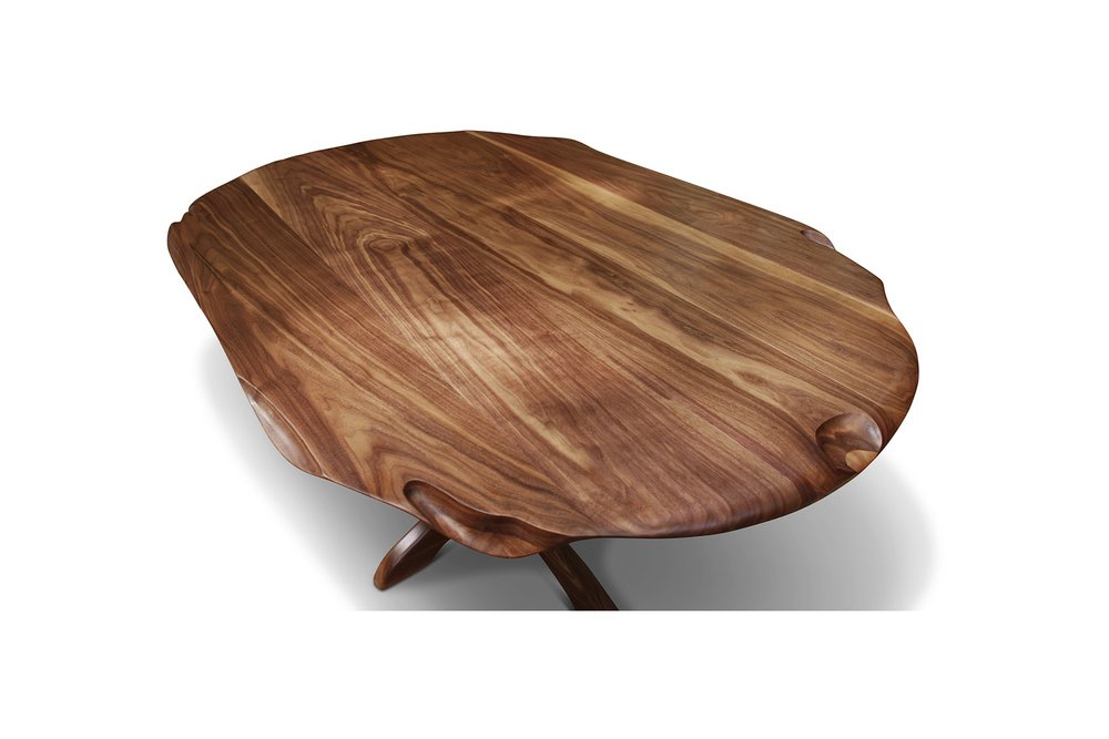 """Tutu"" Breakfast Table, designed 2011  American black walnut.  29 x 55 x 38 in."