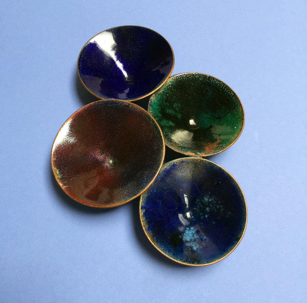 Fused four-cup tray, ca. 1960