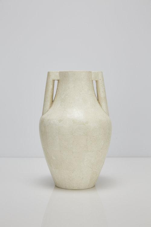 Mesopotamia Vase White Stone Oculus