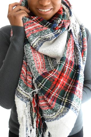 Don't forget about bridesmaids.  This lovely plaid scarf or something similar, can double as an accessory for those bridesmaid dresses and as a gift.