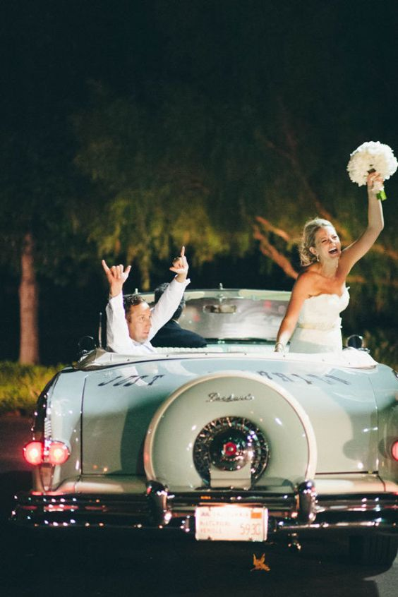 Get away in style with an old school car... - and live happily ever after!