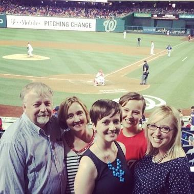 Lisa and her family at a Nats game