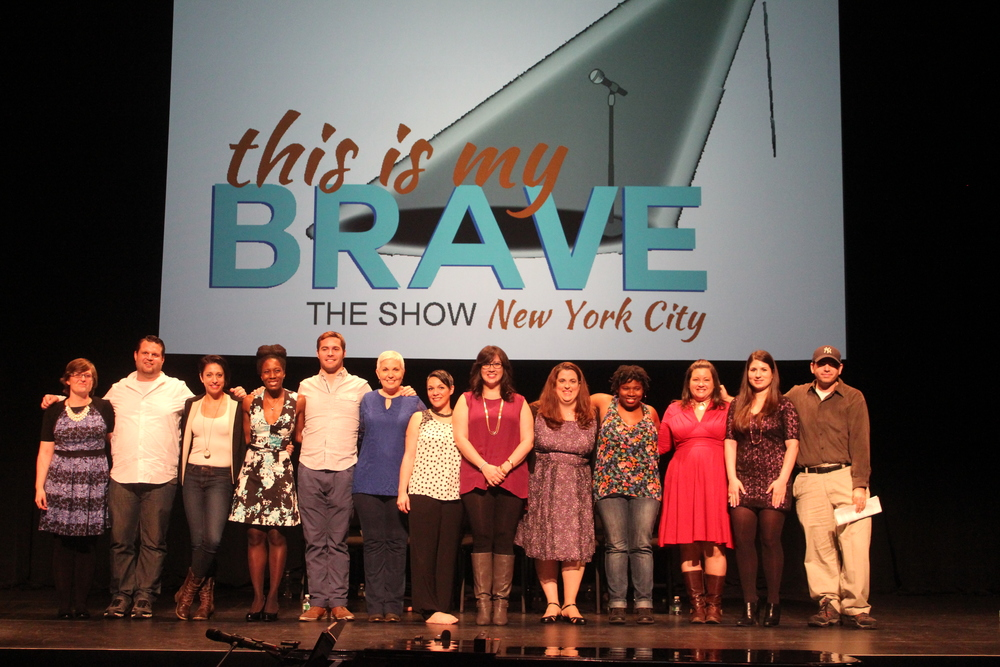 The cast of This Is My Brave NYC (from L to R): Assoc. Producer Rachel Godfrey, Joe Fusaro, Katie Mack, Monique Lewis, Tom Christensen, Kathleen Frazier, Danielle Fiorello, Claudia Martinez, Liz Coaltz, Kamilah Holtz, Emily Grossman, Jenna Marotta, and Producer Lorne Jaffe.