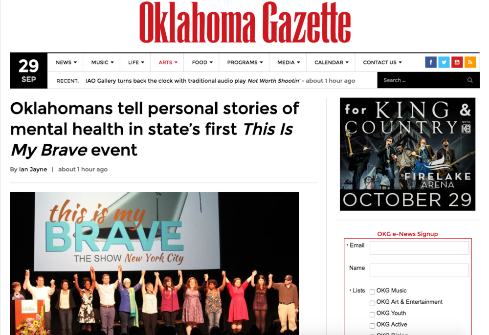 This is my brave's upcoming oklahoma city show (October 6th, 2016) featured in the Oklahoma gazette - both online and print