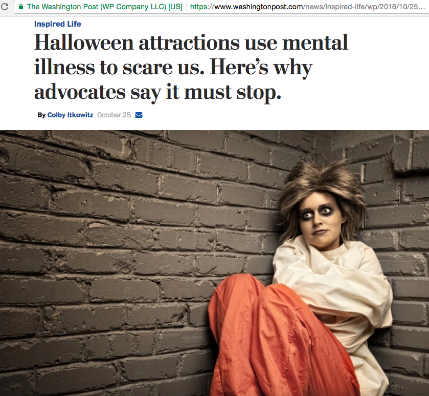 A woman dressed in straitjacket is among the many depictions of mental illness at Halloween attractions. (iStock)