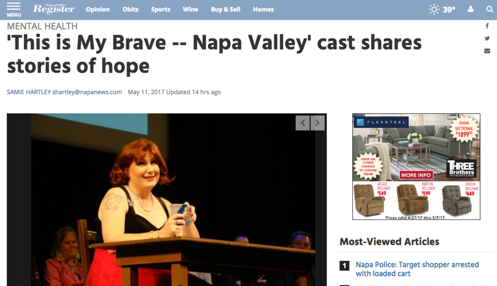 "review of ""this is my brave napa valley"" in the napa register following their performance (may 11, 2017) online and front page of the napa register in print"