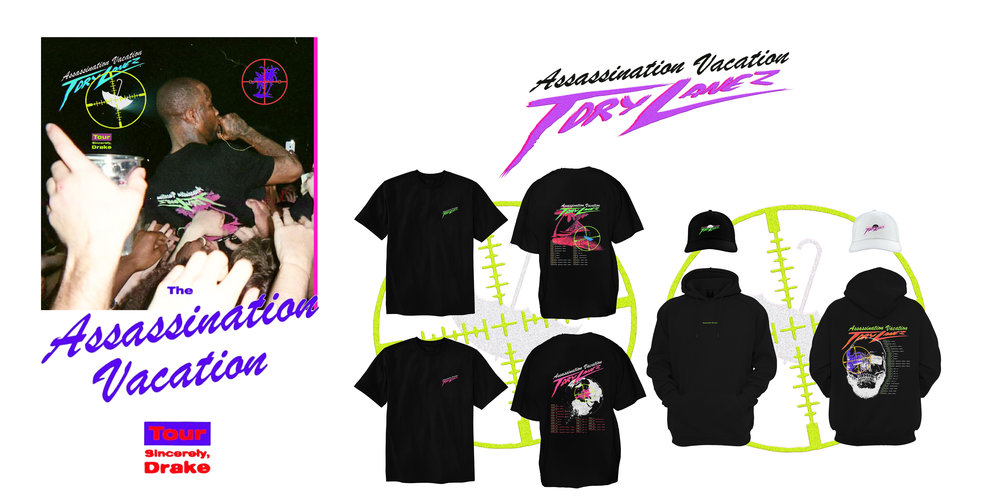 Tory Lanez tour merch designed by Rannel Ngumuya for the Assassination Vacation with Drake. ( March 12th, 2019 )