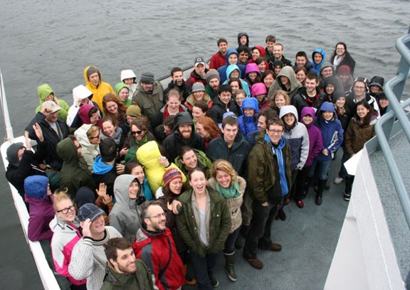 Participants at PEEC on the ferry to Bamfield