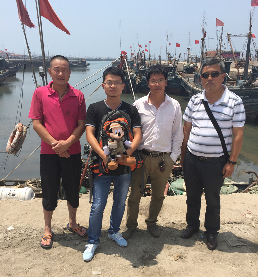 None of my field work would have been done smoothly without the incredible assistance of my local collaborators in China.  Here are some of my collaborators: two local fishers (in red and white T-shirts respectively) and a colleague (wearing sunglasses) in Qingdao, Shandong Province.