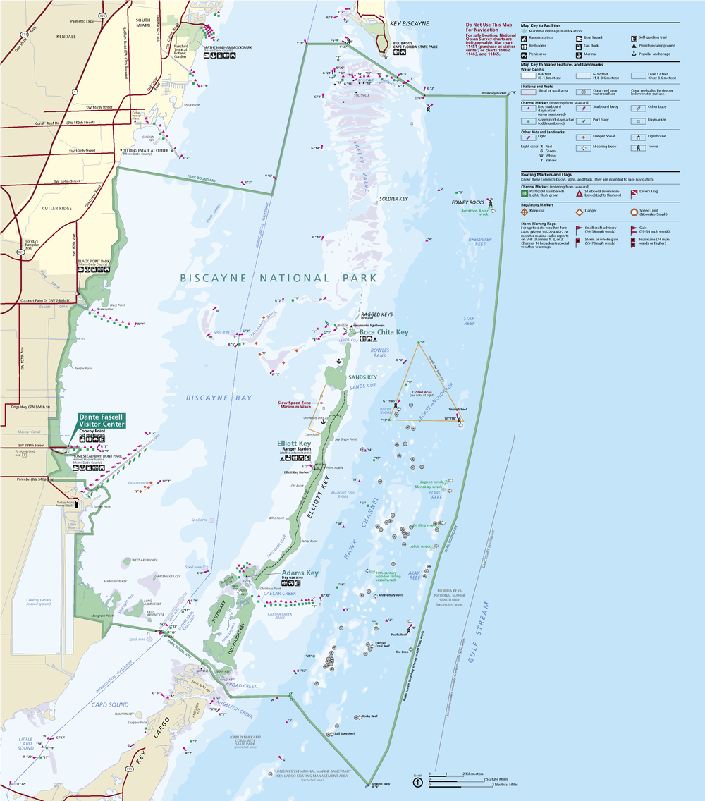 Biscayne National Park, South Florida (map courtesy of National Parks Services)