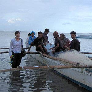 Researcher Jennifer Selgrath with local squid fishers