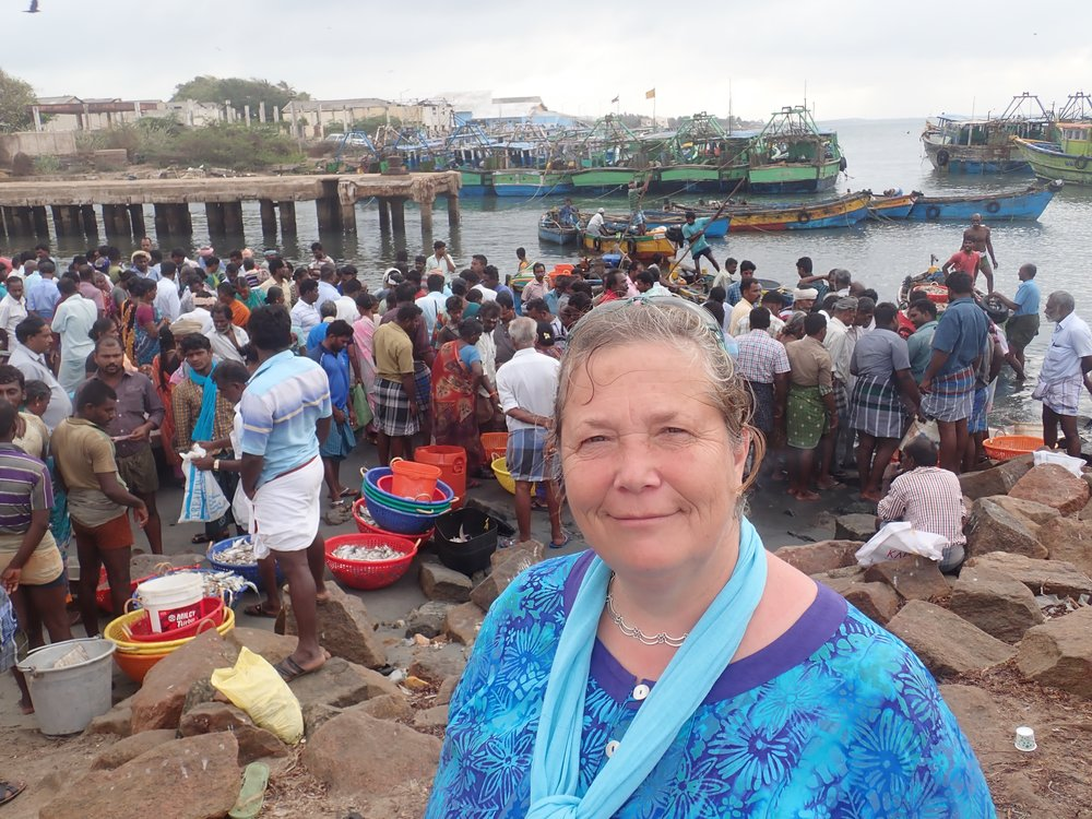 Amanda Vincent at a trawl landing site in Mandapam South, India. Photo by Amanda Vincent/Project Seahorse.