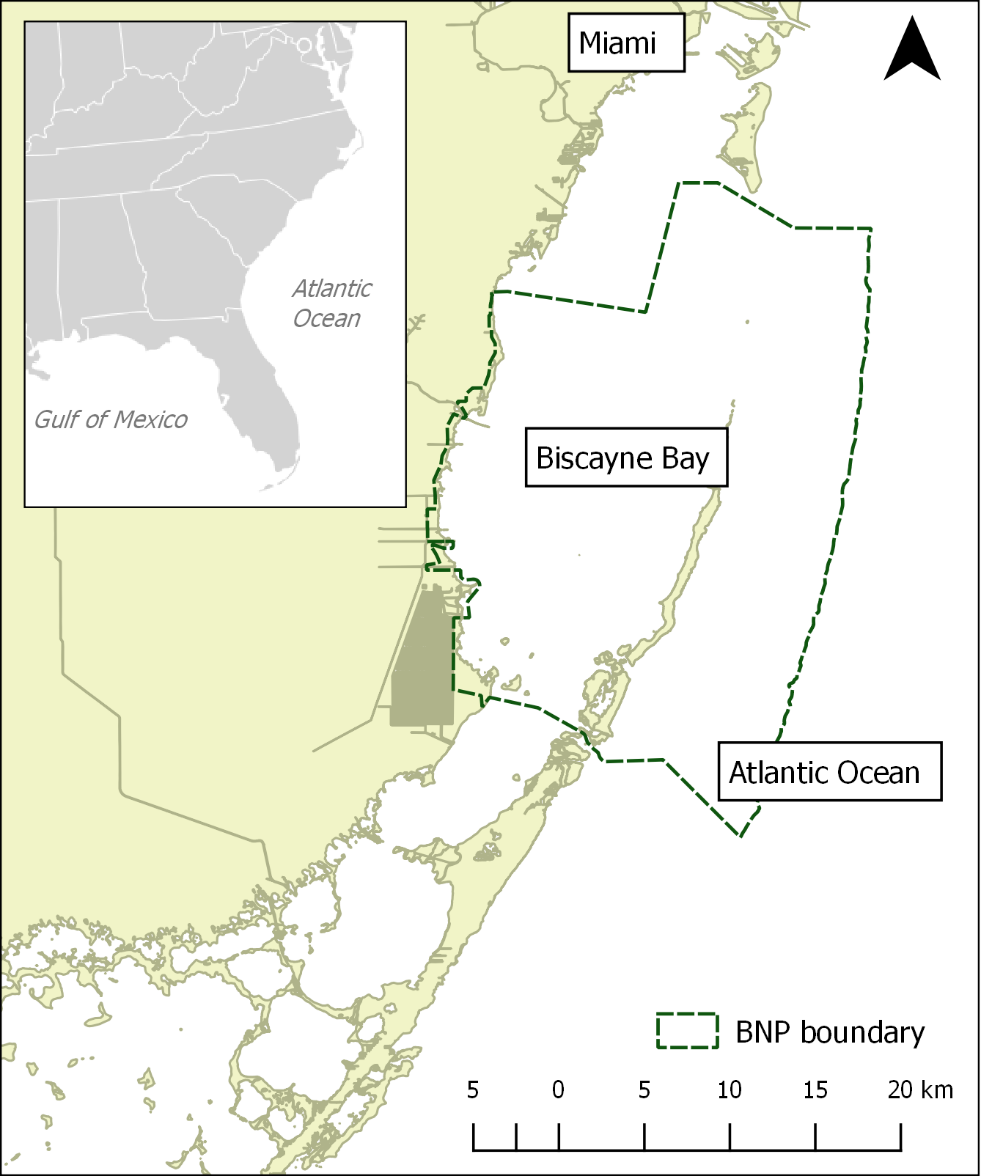 Map of Biscayne National Park in southeast Florida.