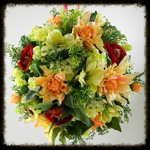 Wedding kissing balls pomander flower balls floral ball cranberry green and peach flower kissing ball mightylinksfo