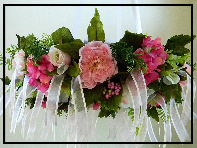 Flower Chandelier Wedding Raspberry Pink Green White Sugar Creek