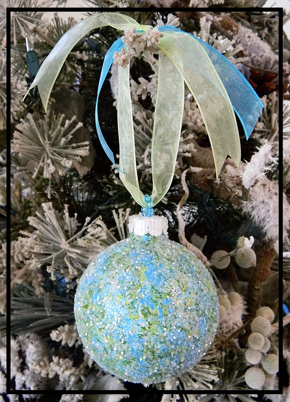 Hand Painted Christmas Ornament Green Blue Silver Sugar Creek Home Decor