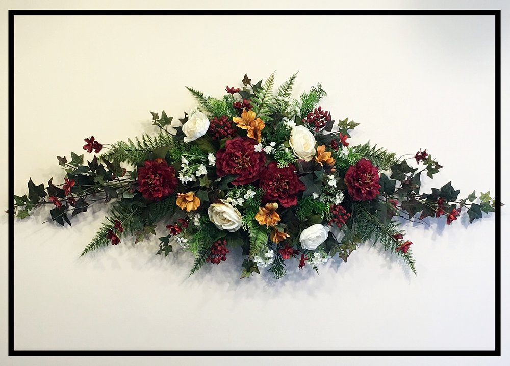 Silk floral wall swag sugar creek home decor for California floral and home christmas decorations