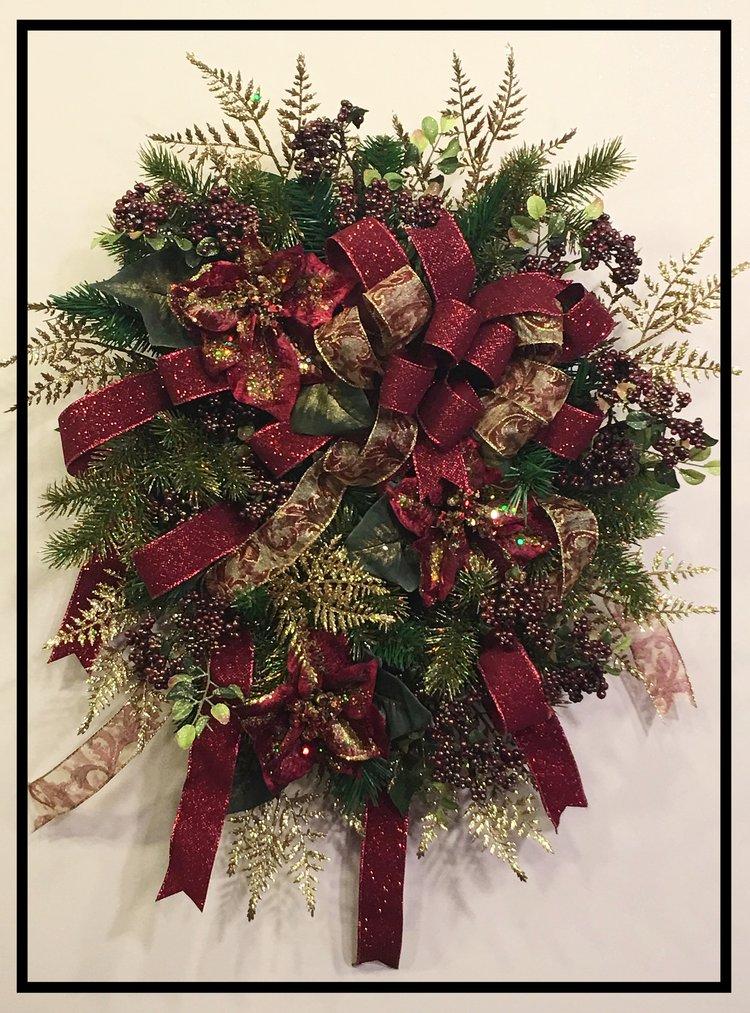 Burgundy And Gold Poinsettia Christmas Wreath Sugar Creek Home Decor