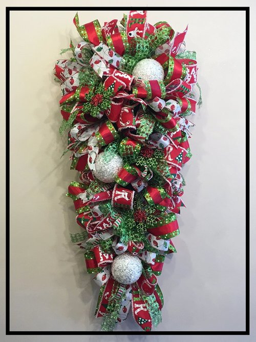 whimsical christmas swag for front door