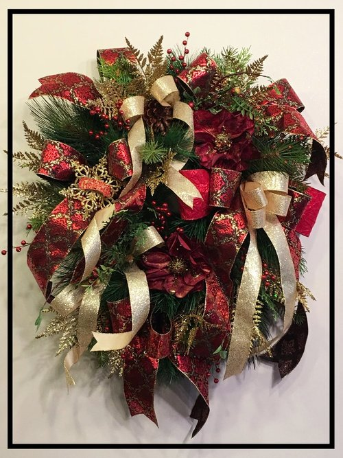 Burgundy Red And Gold Christmas Wreath Sugar Creek Home Decor