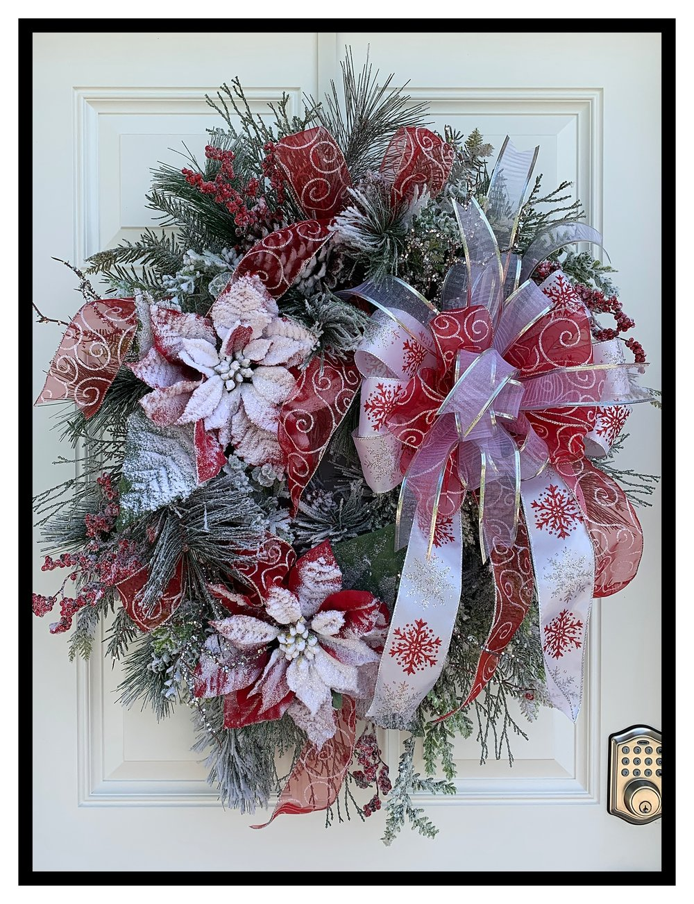 flocked christmas wreath - Elegant Christmas Decor