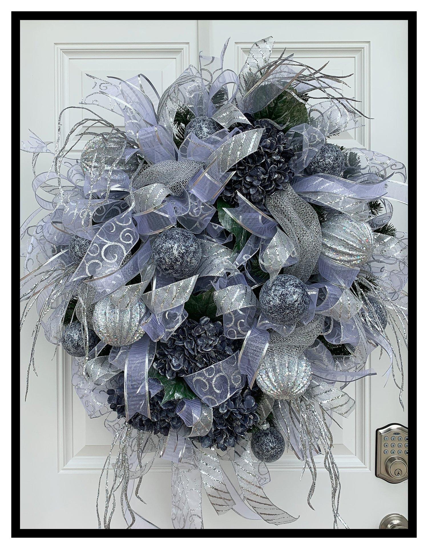 Silver Christmas Wreath.Decorative Christmas Wreath Sugar Creek Home Decor