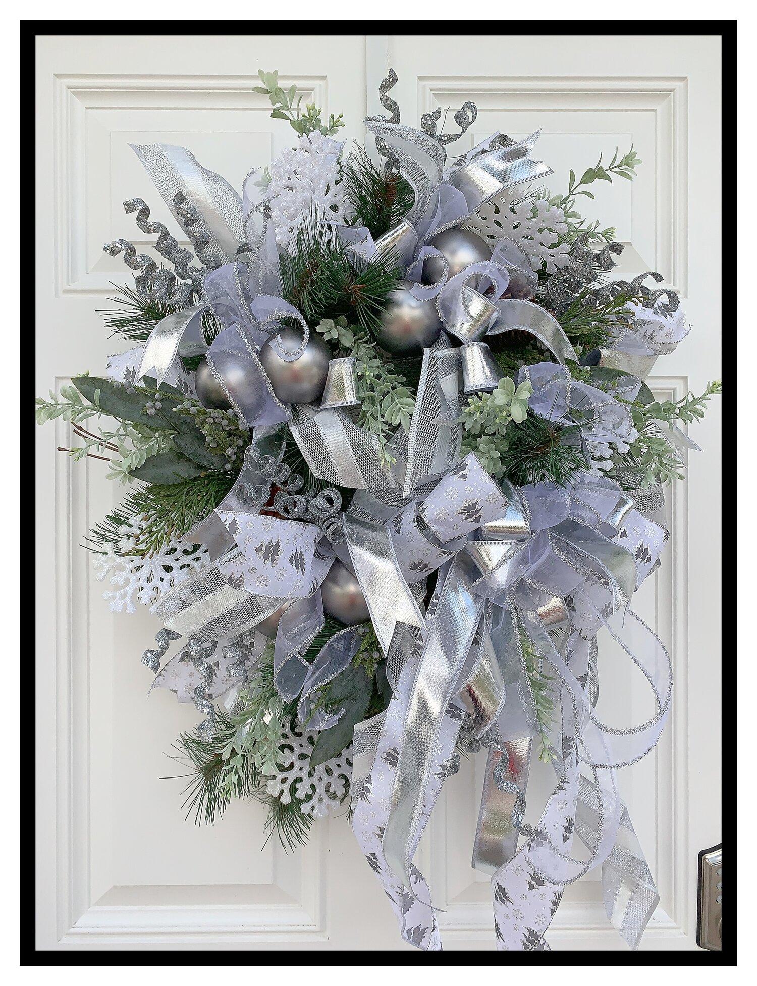 Silver Christmas Wreath.Silver Christmas Wreath Front Door Wreath Modern Christmas Decor Sugar Creek Home Decor