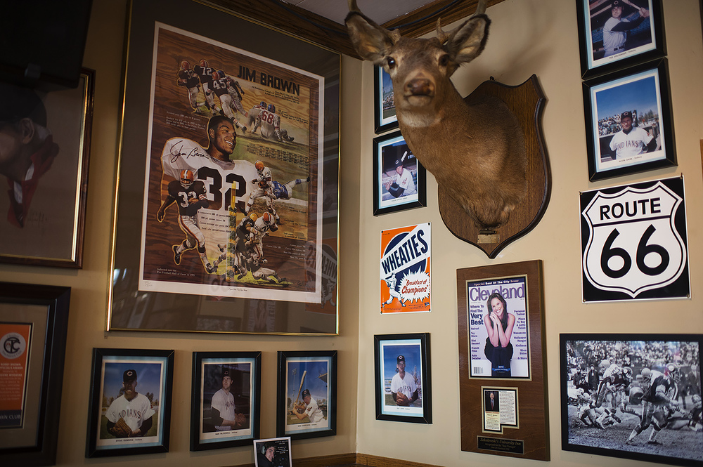 Plenty of Cleveland sports memorabilia can be found on almost any wall in Sokolowski's University Inn in Cleveland's Tremont neighborhood. (Dustin Franz/The Washington Post)