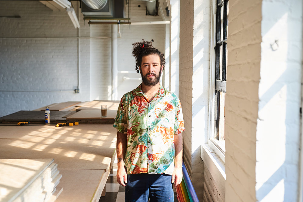 Cleveland artist Dan Issac Bortz in his studio in Cleveland's Midtown neighborhood on July 1, 2018.
