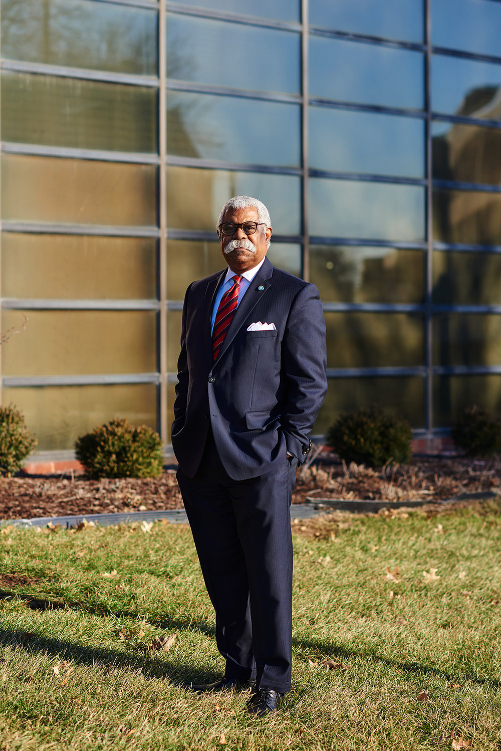 William Gary, executive vice president of workforce, community and economic development at Cuyahoga Community College, poses for a portrait at the Manufacturing Technology Center at Tri-C in Cleveland, Ohio on February 4, 2019. Dustin Franz for The New York Times