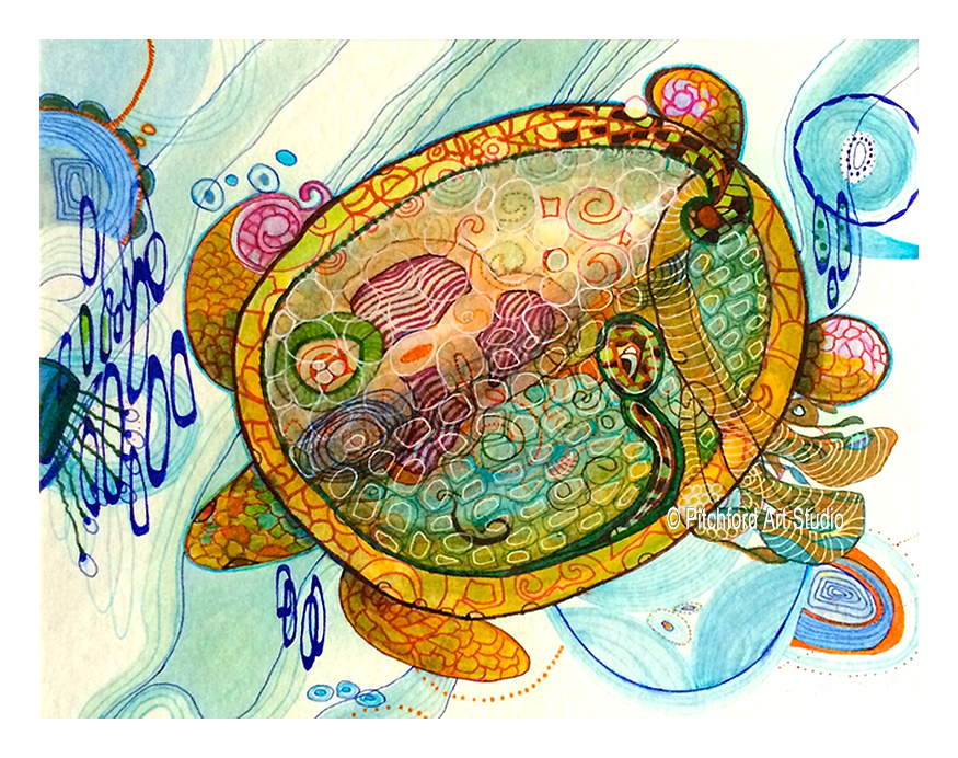Sea Turtle Navigation - purchase here: https/etsy.com/shop/pitchfordartstudio