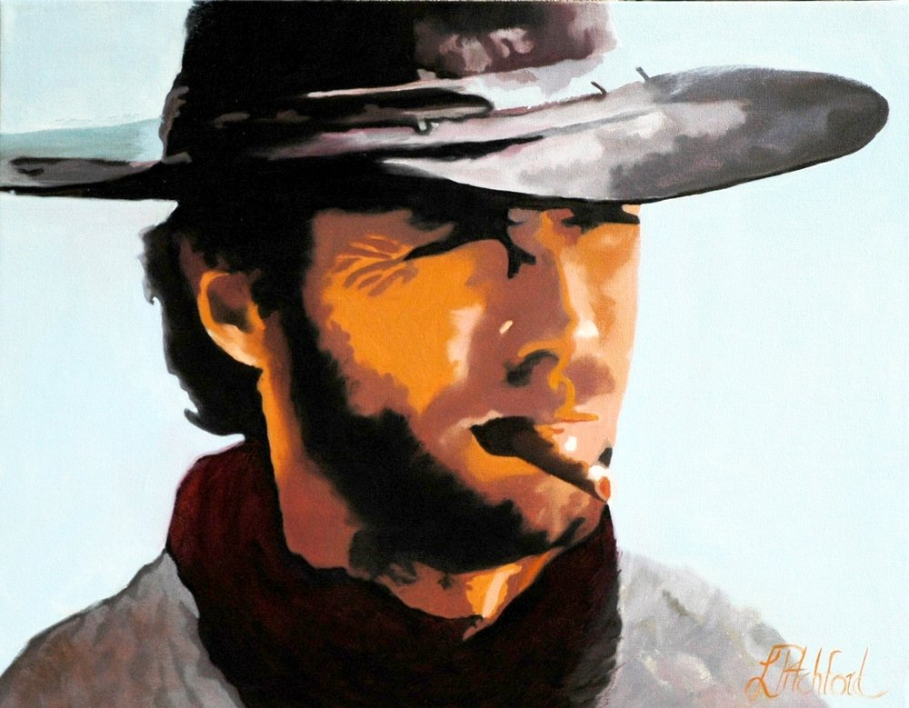 "Iconic spaghetti western imagery - Clint Eastwood as ""Fist Full of Dollars"". SOLD"