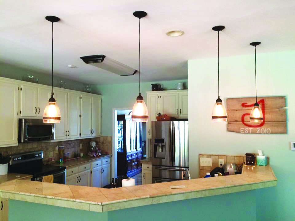 New pendant lighting added in kitchen