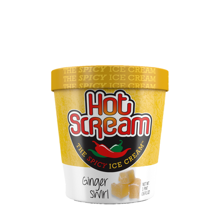 Premium vanilla ice cream with an indulgent ginger and spicy swirl