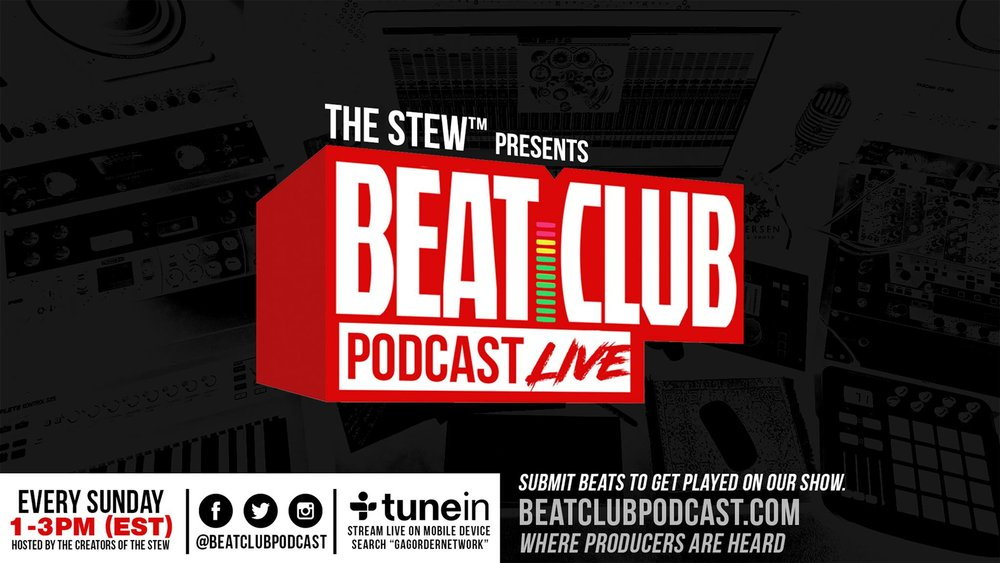 "The creators of The Stew have come together to create a radio platform for producers and creatives who loves beats. Listen in as our comedic and uncensored hosts share production from their growing community of producers, the Beat Club™, interview special guests and cover topics from a producers point of view.  Calling all Beatmakers & Producers. Sign up for FREE at the door & get your beats heard! We'll be doing our  #KeepItOrCutIt  segment of the show live. One lucky beatmaker/producer will win a battle slot at the next Stew Beat Showcase in June.  Limited space. Early arrival recommended.  --  [EXHIBITION BEAT BATTLES]  TBA  --  Listen to past episodes here:  www.beatclubpodcast.com.  EVERY SUNDAY 1pm - 3pm EST we are LIVE on air. Listen by going to www.beatclubpodcast.com  or download the TuneIn app and search ""Gag Order Network"". You can also follow us at  www.soundcloud.com/beatclubpodcast  and on iTunes.  --  Follow us on Instagram & Twitter:  @BeatClubPodcast   Producer join our exclusive Facebook group:  http://www.facebook.com/groups/beatclubpodcast   Follow the hosts: Loopz - IG: @doitallloopz  Twitter: @doitallloopz  Merren - IG: @authenticmerren  Twitter: @markmerren   Avi - IG: @artofficialavi  Twitter: @artofficialavi"