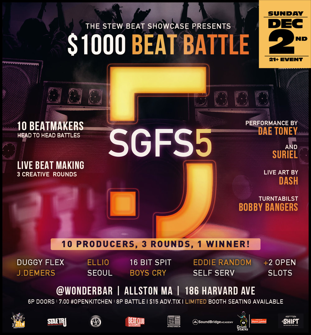 The Stew: Beat Showcase Grand Finale of Season 5 hosted by  STAE TRU ® and  Authentic Lifestyle , goes down Sunday, December 2nd, 2018 at  Wonder Bar . Come and witness as we put our 8 top scoring producers from this season in an innovative 3 round beat-battle like no other! Producers go head to head and compose beats live while presented with a variety of challenges all for the chance to win $1,000 cash prize, our championship title and more!