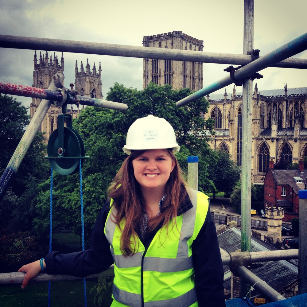 Me during a scaffold tour of repairs to Holy Trinity Goodramgate with the Minster in the background.