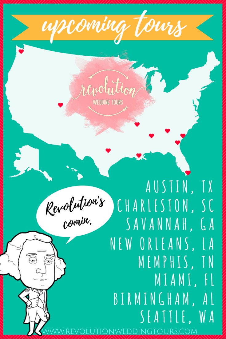 Revolution Wedding Tours, Luxury Southern Bridal Show alternative in Charleston, Atlanta, Austin, New Orleans, Miami, Memphis, Birmingham, Savannah