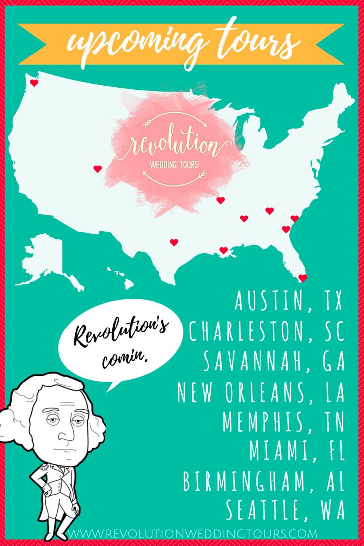 revolution wedding tours upcoming tour dates | charleston, austin, miami, memphis, savannah, birmingham, seattle, new orleans bridal show alternative