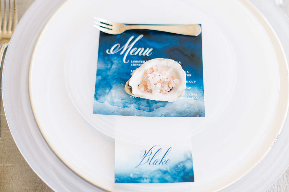 charleston wedding planner scarlet plan & design | nautical watercolor wedding placecard at historic rice mill | revolution wedding tours