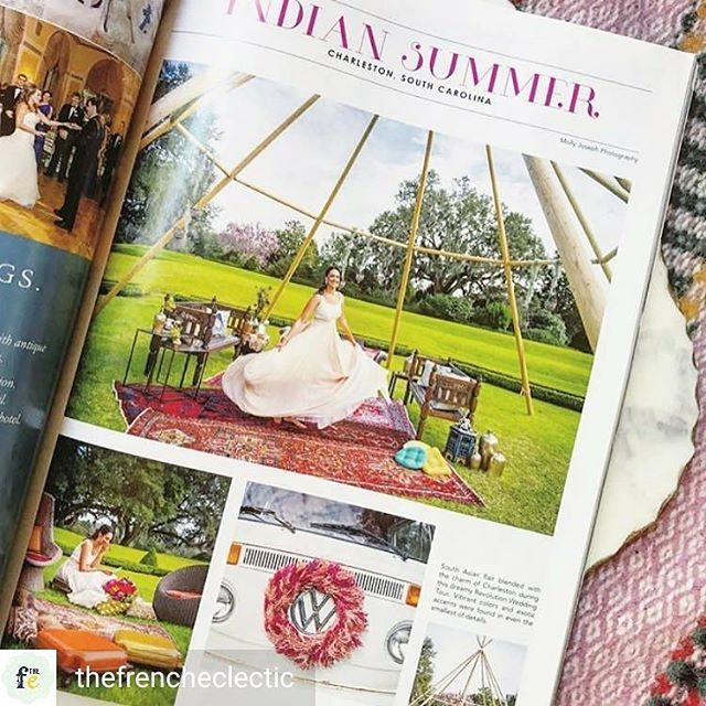 @Regrann from @thefrencheclectic -  Too cool! Gotta pause and do a *happy dance* when you see your first feature in print 💃 See below for all the talented folks behind curtain.  #Repost @indahevents ・・・ Quick! Go snag the latest issue of @southernbridemagazine and check out the naked tipi setup we did for @revolutionweddingtours in the Octagonal Garden at @middletonplace! We had so much fun working with all of these talented local vendors! . . . Photography: @mollyjoseph  Floral: @flowercottagesc  Rentals: @thefrencheclectic  Plan + Design: @scarletplandesign  Venue: @middletonplaceweddings  Dress: @southernprotocolbridal @carolhannahbridal  Glam: @wildivorybeauty  Photo booth bus: @lilwhitebox - #regrann