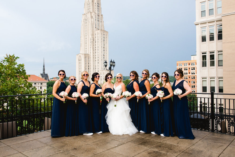 bridal party on rooftop university club wedding in pittsburgh