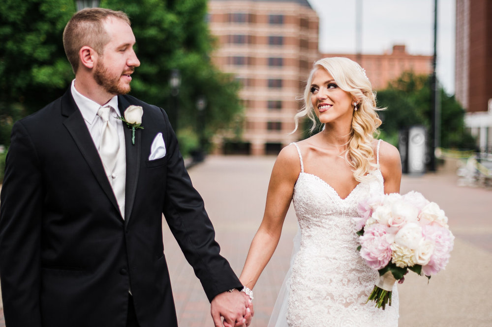 bride and groom at Duquesne University Wedding