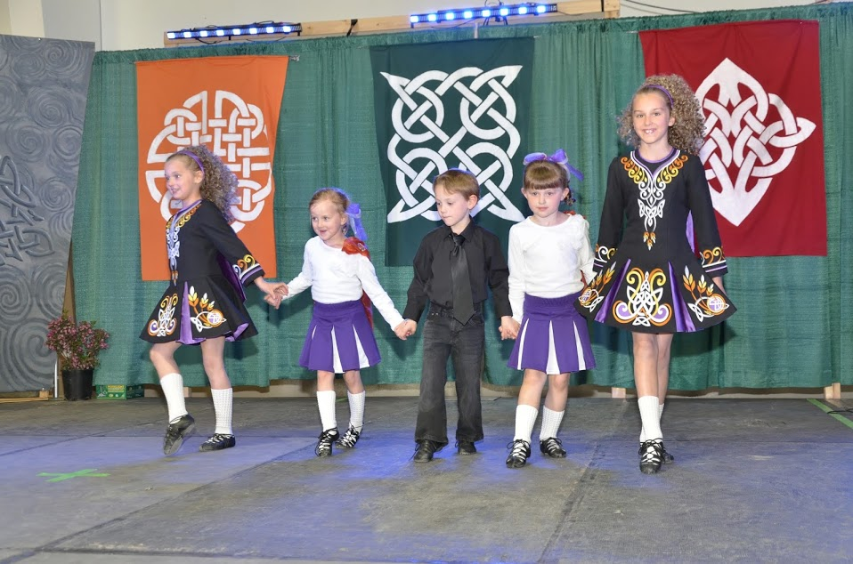 Dancing on stage at the Irish pavilion