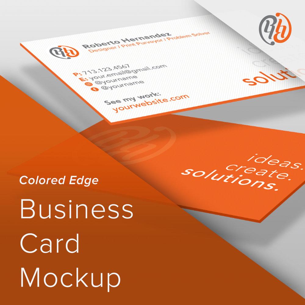 Colored Edge Business Card Mockup Rh Design