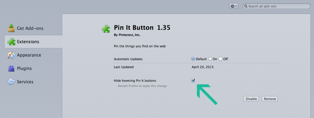 Check the box 'Hide hovering Pin it buttons.'