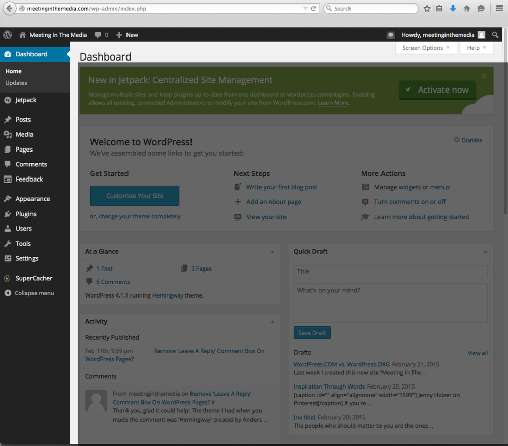 Screenshot of wp-admin panel or 'dashboard' on WordPress.ORG.